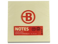 Block of 100 repositionable yellow notes Bruneau 76 x 76 mm