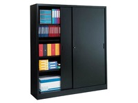Sliding door cabinet H 200 x W 180 cm metal high volume black