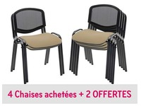 Pack chaise taupe Conférence maille 4 + 2 offertes